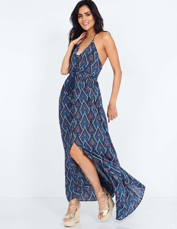 SABRINA - Button Front Halter Neck Blue Maxi Dress