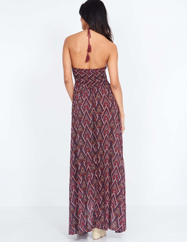 SABRINA - Button Front Halter Neck Red Maxi Dress