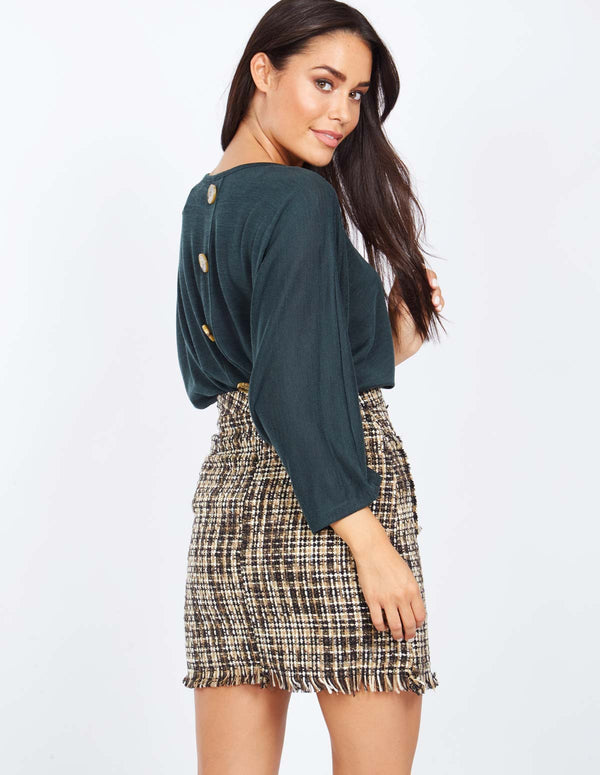 MAREN - Buttoned Check Mini Skirt