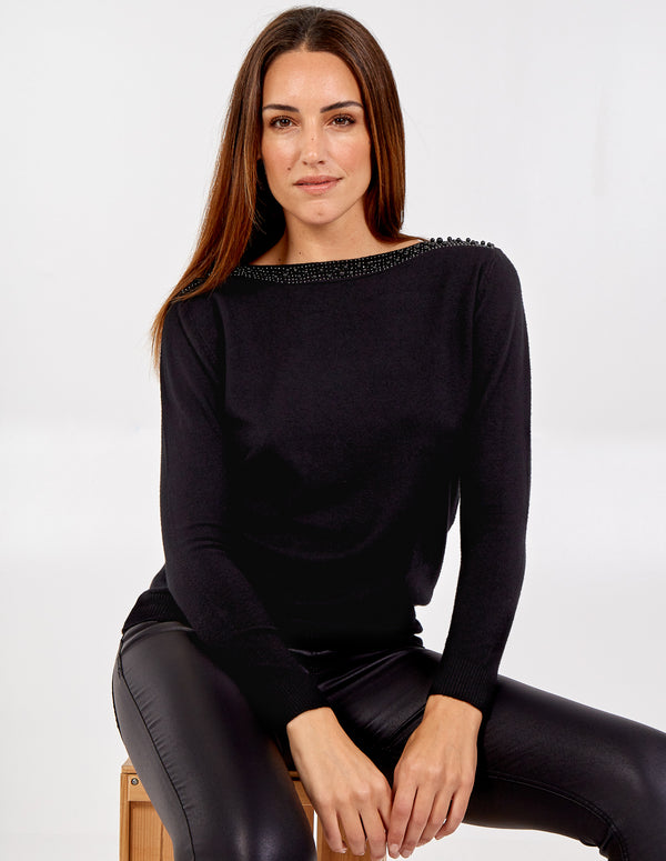 EVE - Pearl Neck Trim Jumper