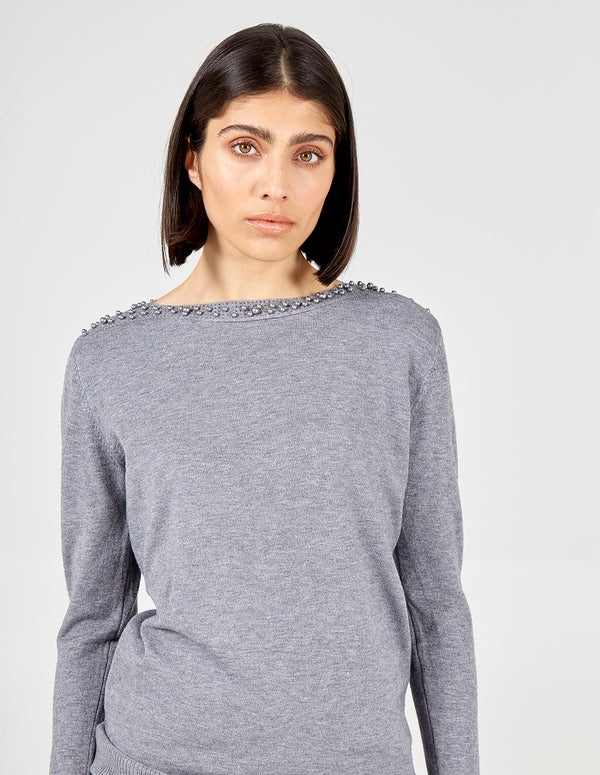 CLAUDIA - Grey Pearl Jumper