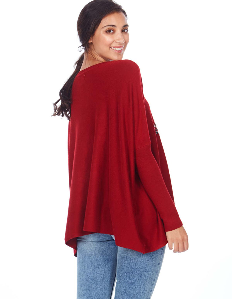 BRANDI - Star Studded Oversize Wine Jumper