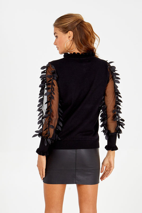 DAISY - Leaf Mesh Sleeve High Neck Black Jumper