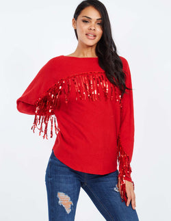 CLARE - Red Sequin Tarsel Jumper