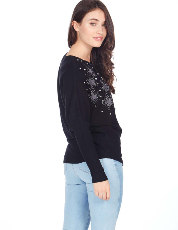 JACKIE - Star Pearl Applique Black Jumper