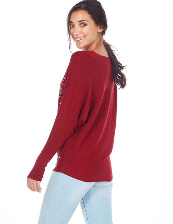 JACKIE - Star Pearl Applique Wine Jumper