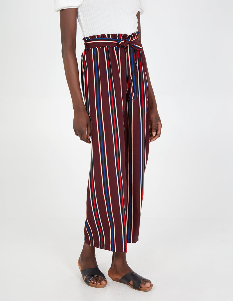 MILLIE - Stripe Paper Bag Waist Plum Palazzo Trousers