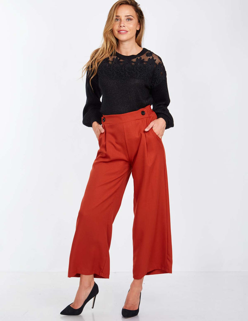 BRIANNE - Button Front Palazzo Rust Trousers
