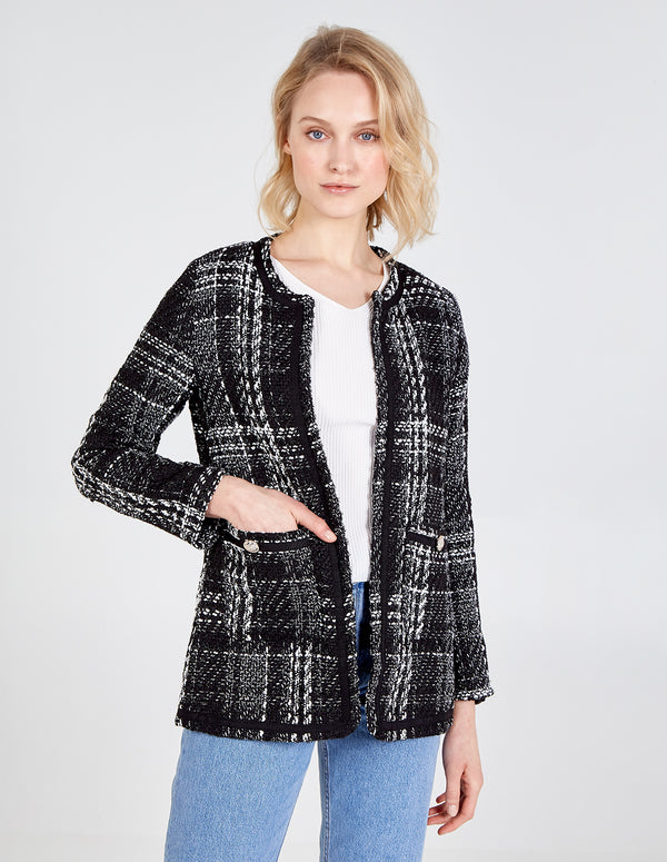HARPER - Front Pockets Checked Black Jacket