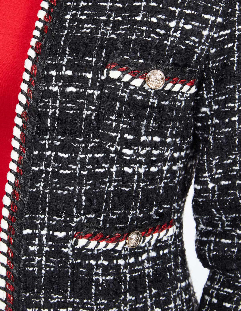 AUBREE - Four Front Pockets Checked Black Jacket