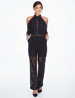 LOUISA - Cold Shoulder Lace Black Jumpsuit