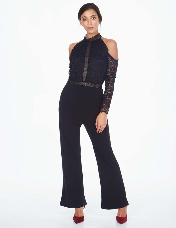 NIARA - Cold Shoulder Lace Top Black Jumpsuit