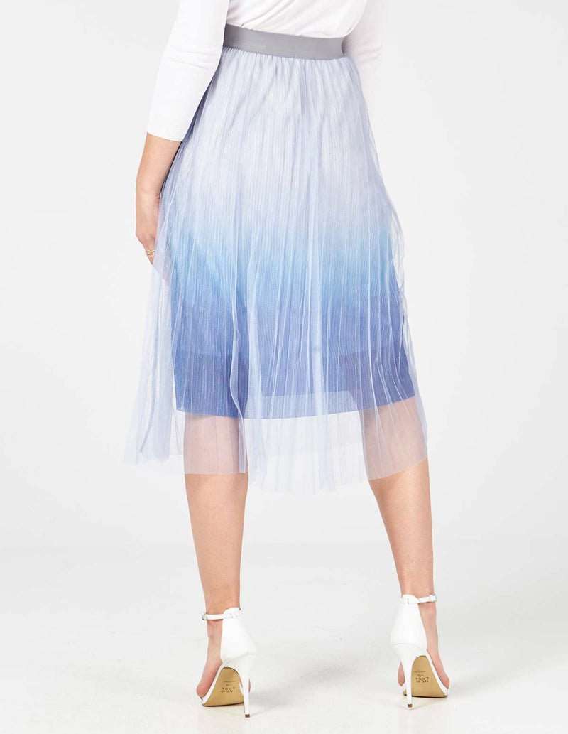 KYLEE - Ombre Lurex Pleated Midi Blue Skirt
