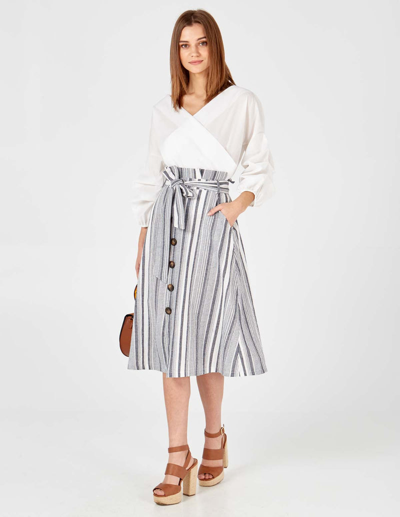 TRACY- Paper Button Front Stripe Denim Skirt