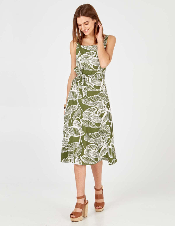 NADIA - Leaf Print Belted Khaki Dress