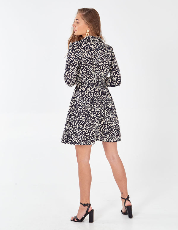 SHONELLA - Abstract Leopard Collard Shirt Dress