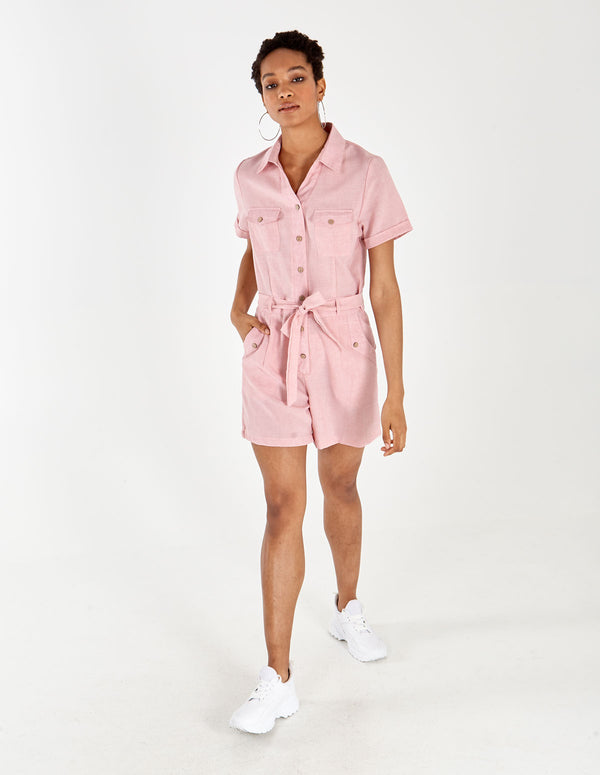 JAZMIN - Utility Button Collar Pocket Playsuit