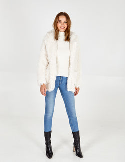 PEGGY - Shaggy Fur Blazer  Collar Jacket