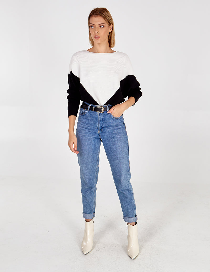 ANABELLE - 2 Colour Batwing Jumper