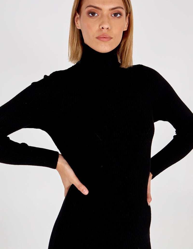 AYDA - Roll Neck Knitted Midi Black