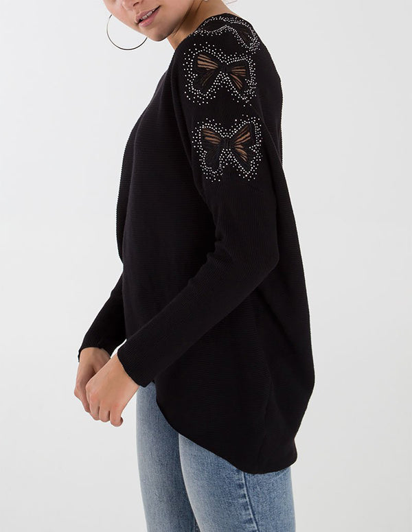 MICHAELA - Ribbon Shape Diamante Jumper