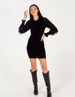 ISRA - Fringe Sleevee Ruffle Neck Dress