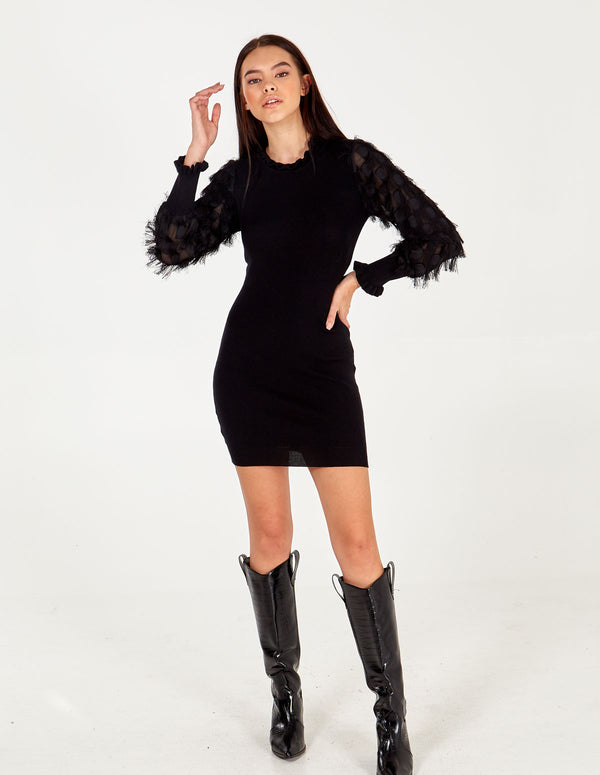 ISRA - Fringe Sleeve Ruffle Neck Dress
