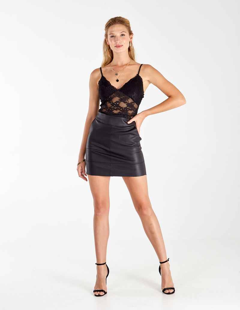 FARAH - Lace Double V Neck Bodysuit