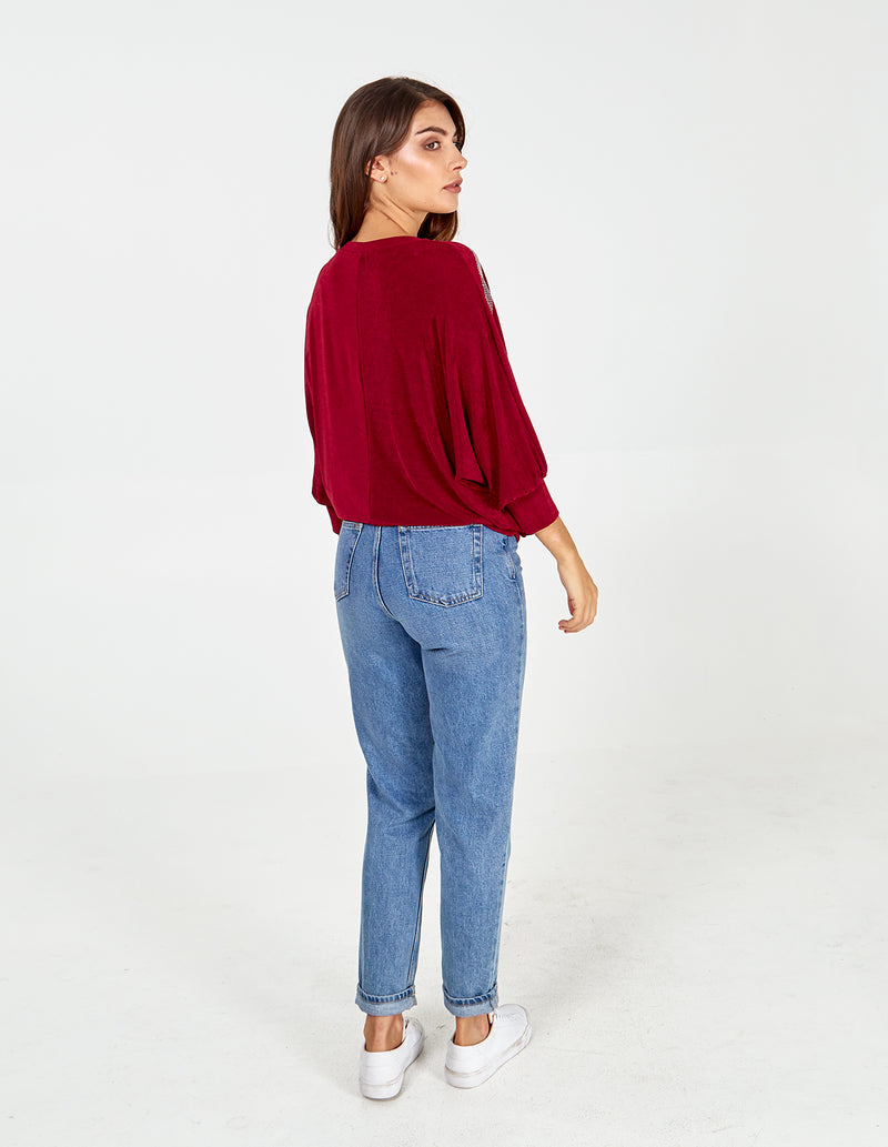 ROSANNA - Batwing Diamante Sleeve Wine Top