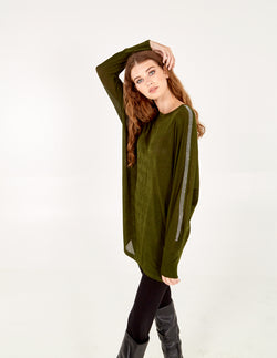 SAFFRON - Diamante Detail Batwing Tunic Top