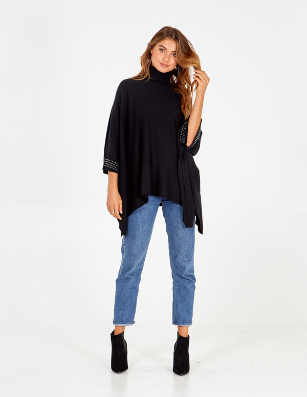 ELISABETH - Diamante Roll Neck Poncho