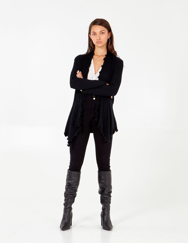 HAZEL - Frill Edge Ribbed Waterfall Long Cardigan