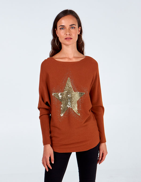 EVALYN - Batwing Star Jumper