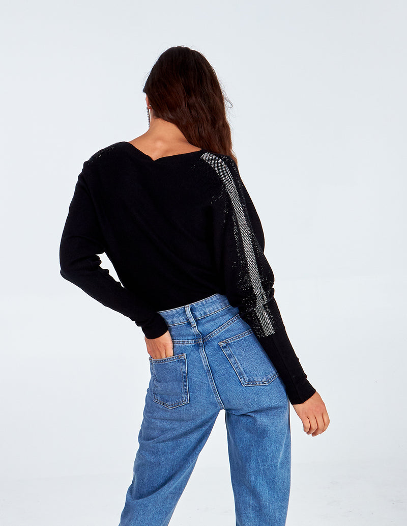 RANIA - Diamante Pocket Batwing Jumper