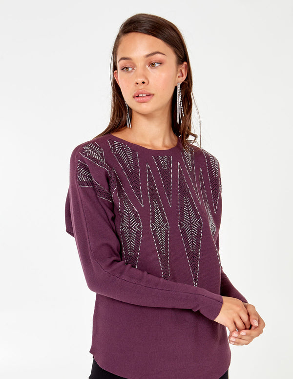 AGATHA - Chevron Diamante Batwing Jumper