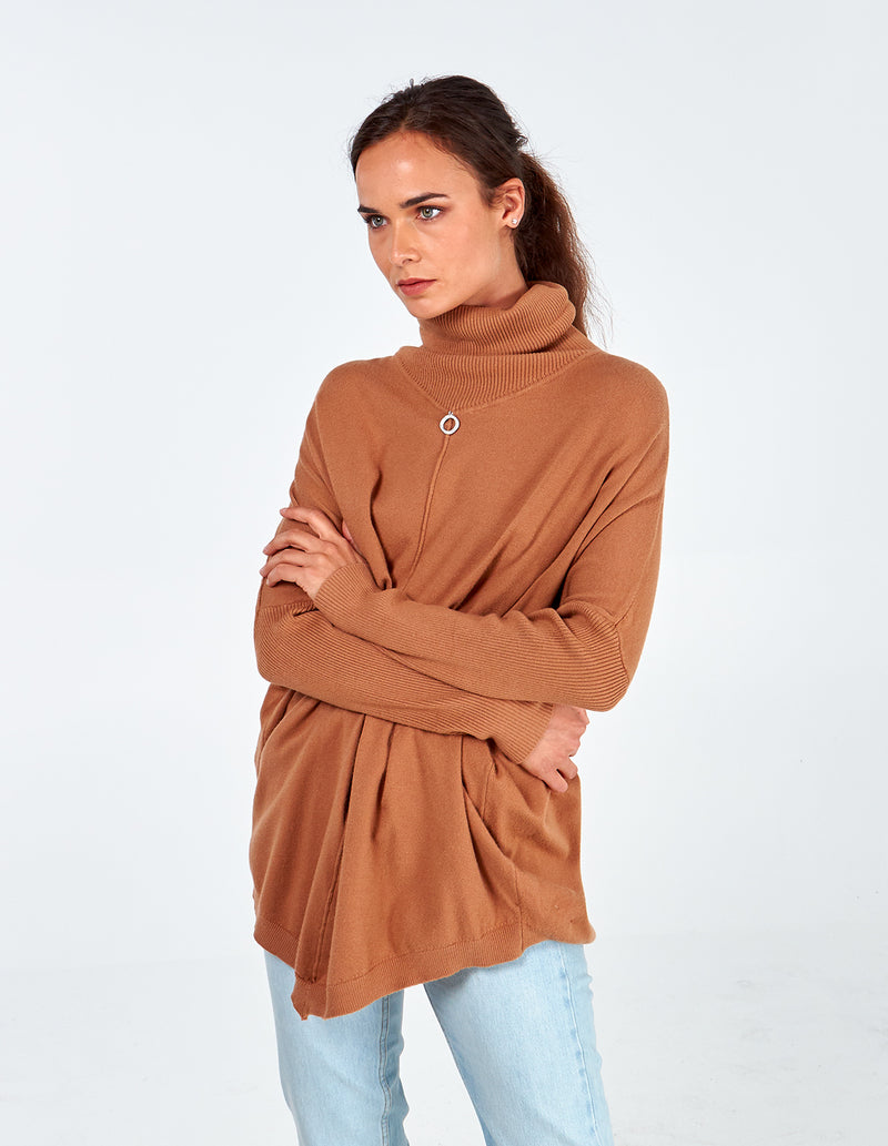 GWEN - Diamond Ring Roll Neck Tunic Top