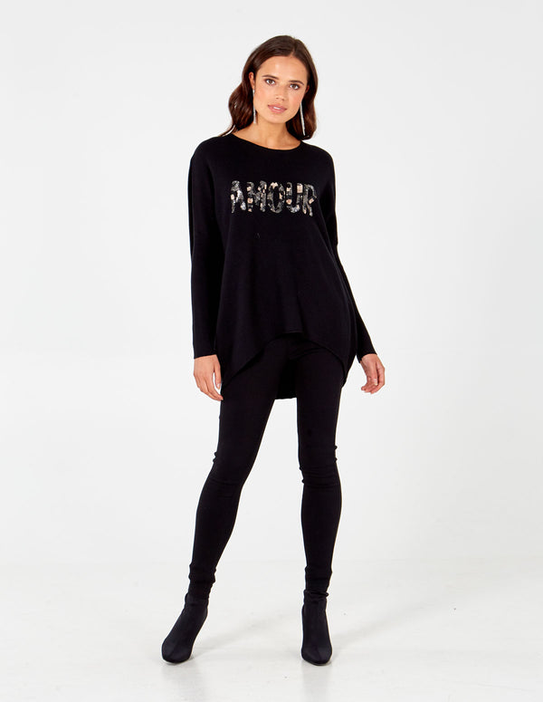 JORGIE Black Amour Camo Sequin Jumper