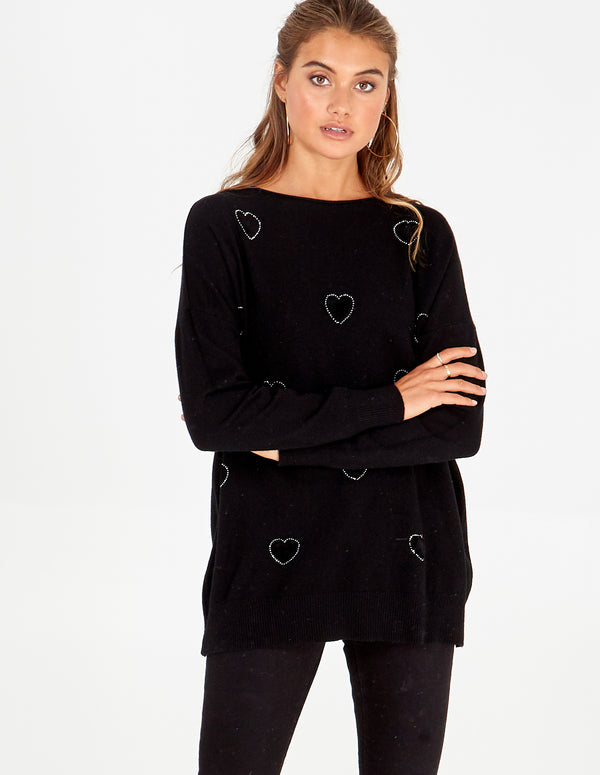 JOY - Plus Heart Diamante Jumper