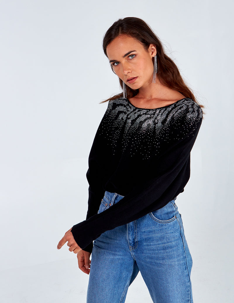 LILLIA - Animal Diamante Batwing Jumper
