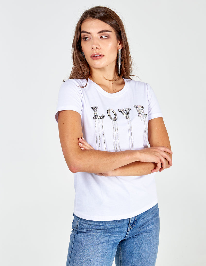 MARINA - Love Diamante White Tshirt