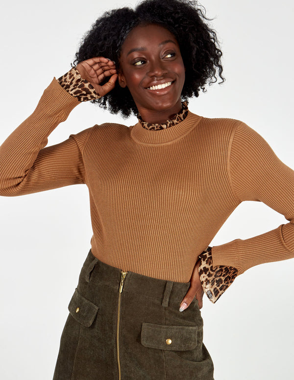 RUBY - Animal Insert Turtleneck Jumper