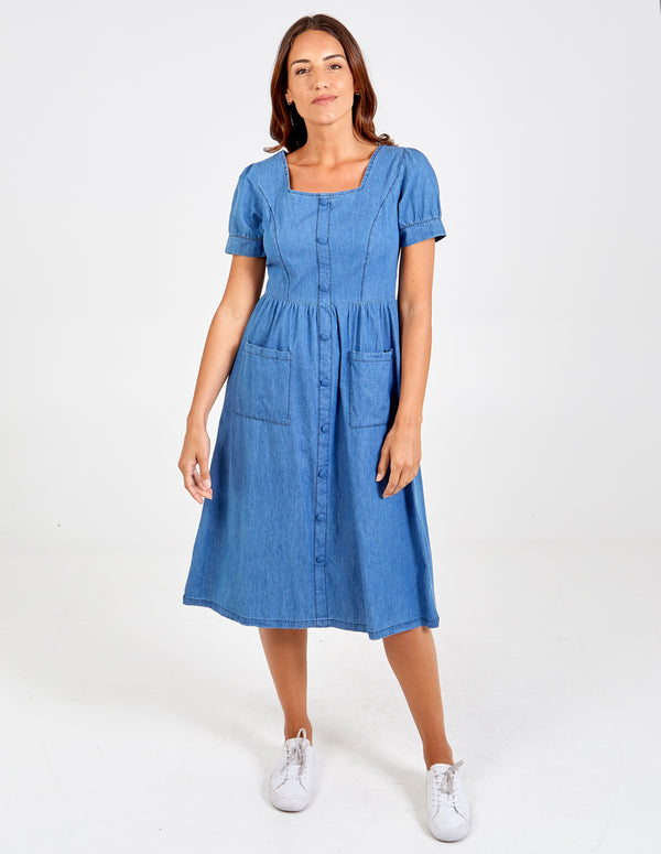 BRIANNA - Denim Midi Dress With Pockets