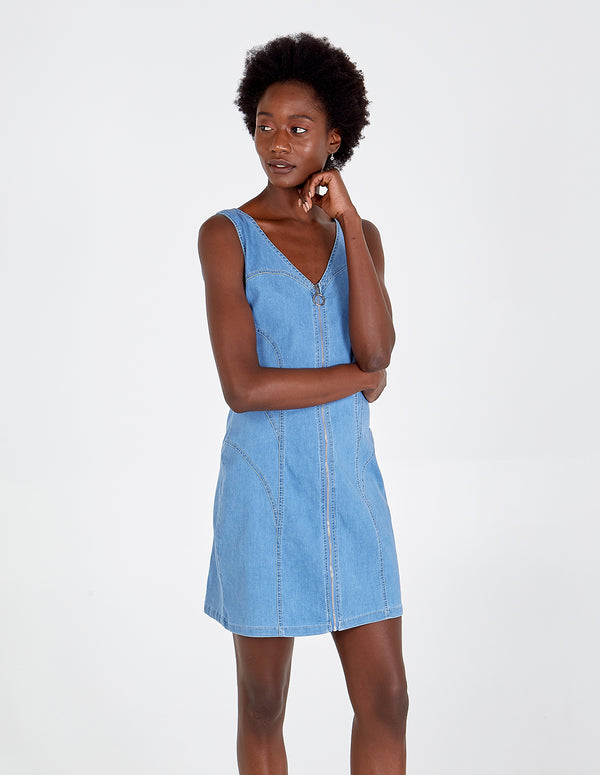 AVNEET - Denim Pinafore Dress With Front Zip