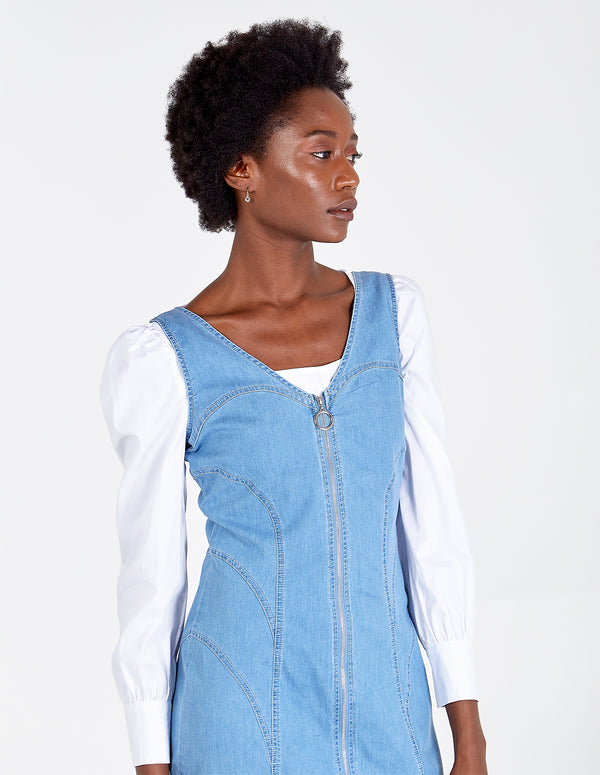 AVNEET - Denim Mini Dress With Front Zip