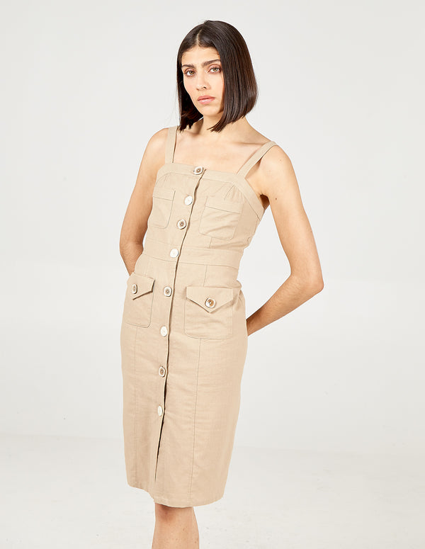 MIRIAM - Button Front Pocket Midi Dress