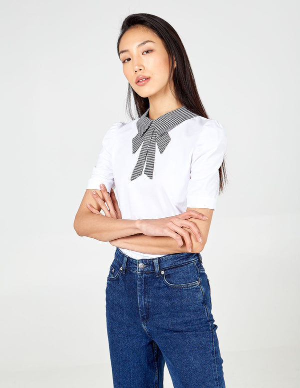 MARIELLA - Dogtooth Collar Gathered Sleeve Top