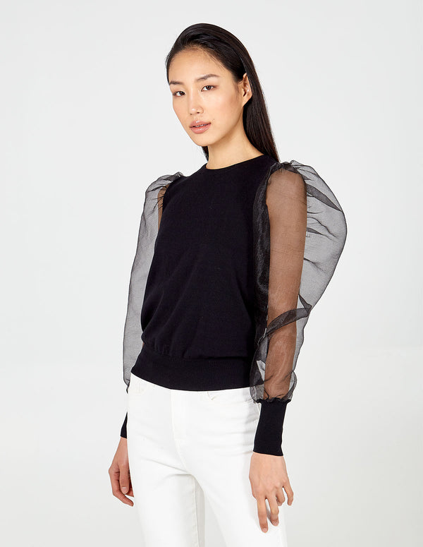 DARCY - Sheer Balloon Sleeve Jumper