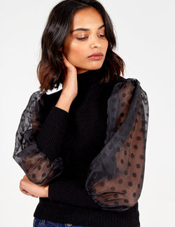 ASHLEY - High Neck Sheer Polka Dot Balloon Sleeve Jumper