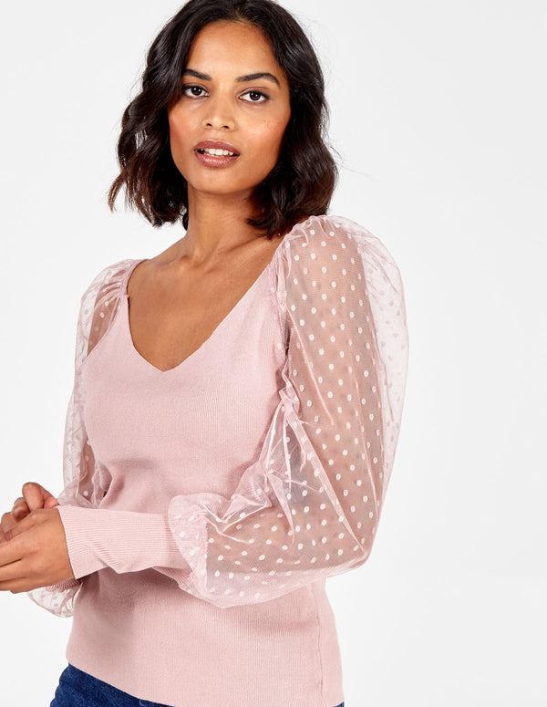 ALESHA - Polka Dot Mesh Sleeve Top