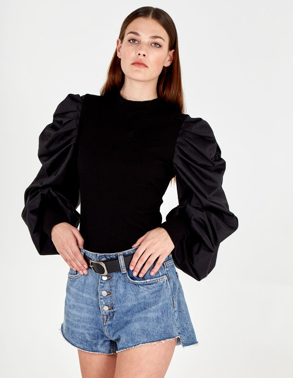 FRIDA - Balloon Sleeve Rib Knit Jumper